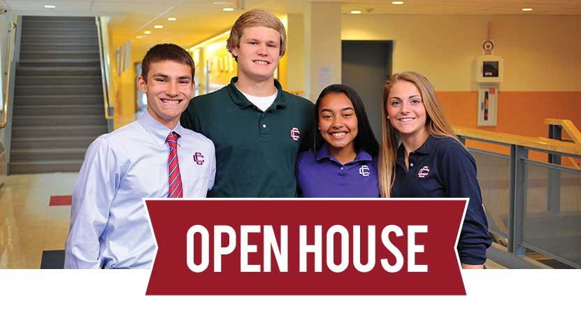 Open House banner overlay on photo of four students smiling.