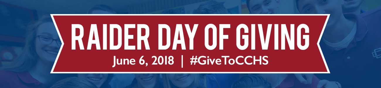 Raider Day of Giving banner: June 6, 2018 #GiveToCCHS