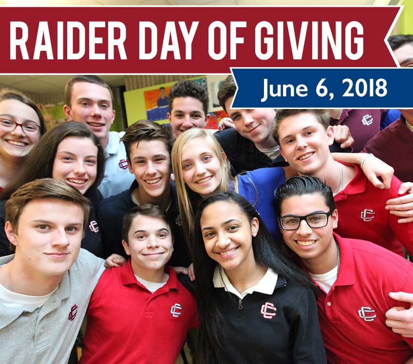 CCHS students smiling with banner across photo, Raider Day of Giving, June 6, 2018