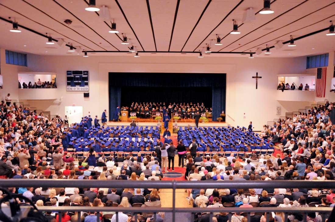 Graduation photo from balcony.